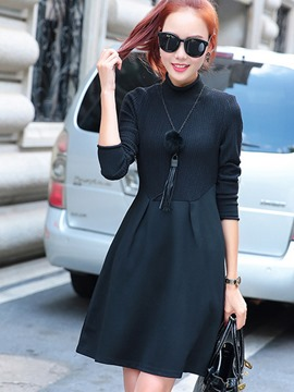 Ericdress Knitting Patchwork Pleated Pocket Casual Dress