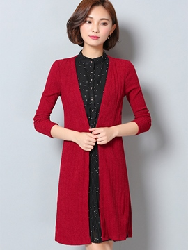 Ericdress Wrapped Trench Coat Polka Dots Dress Suit