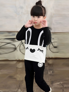 Ericdress Rabbit Print Fall Casual Two-Piece Girls Outfit