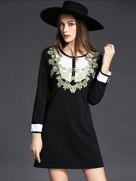 Ericdress Embroidery Patchwork Color Block Casual Dress