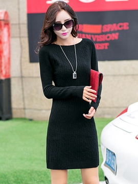 Ericdress Simple Weave Knitting Solid color Sweater Dress