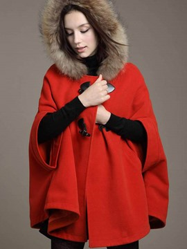 Ericdress Loose Horn-Button Hooded Cape