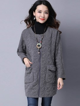 Ericdress Zipper Plain Cardigan Knitwear