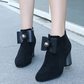 Ericdress Pretty Suede Bowtie Chunky Heel Ankle Boots
