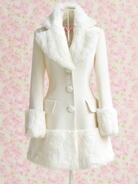 Ericdress Solid Color Slim Polo Sweet Coat