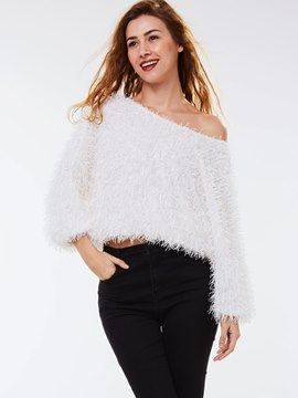Ericdress White Coarse Wool Knitwear