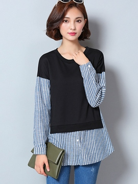 Ericdress Fine Stripe Patchwor T-Shirt