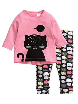 Ericdress Cat T-Shirt Print Pants Baby Girls Outfit