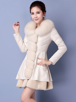 Ericdress Slim Fur Collar PU Patchwork Coat