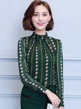 Ericdress Green Printed Casual Blouse