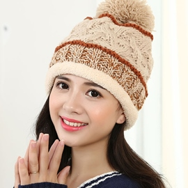 Ericdress Pompon Decorated Mixed Color Knitted Hat