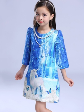 Ericdress Print PrincessA-Line Girls Dress