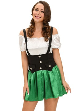 Ericdress Color Block Patchowrk Beer Girl Cosplay Costume