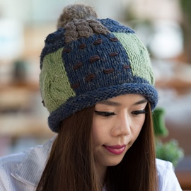 Ericdress Rabbit Hair Pompon Color Block Knitted Hat