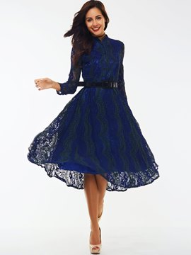 Ericdress Single-Breasted Expansion Lace Dress