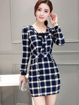 Ericdress Plaid Patchwork Cross V-Neck Button Bodycon Dress
