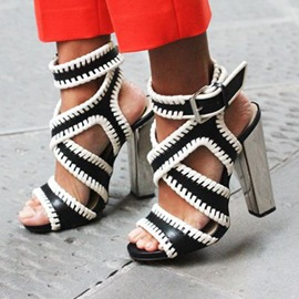 Ericdress Classic Black and White Purfled Chunky Sandals