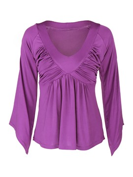 Ericdress Purple Pleated V-Neck T-Shirt