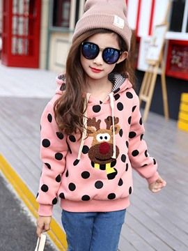 Ericdress Polka Dots Deer Girls Hoodie
