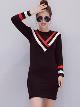 Ericdress Strip Patchwork Round Collar Bodycon Dress