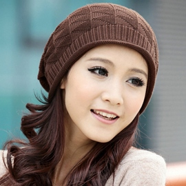 Ericdress Rhombus Plaid Design Knitted Hat