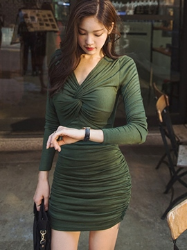 Ericdress Pleated Weave V-Neck Patchwork Bodycon Dress
