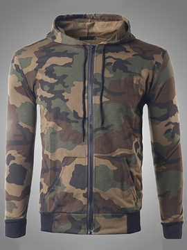 Ericdress Camouflage Zip Casual Men's Hoodie
