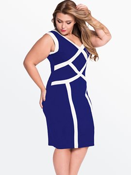 Ericdress Color Block Plus Size Bodycon Dress