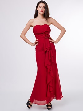 Ericdress A Line Strapless Pleats Ruffles Chiffon Ankle Length Prom Dress