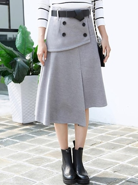 Ericdress Asymmetric Button Decoration Skirt