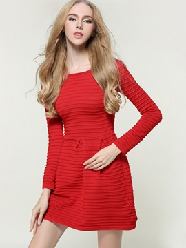 Ericdress Solid Color Strip Pleated Knitting Sweater Dress