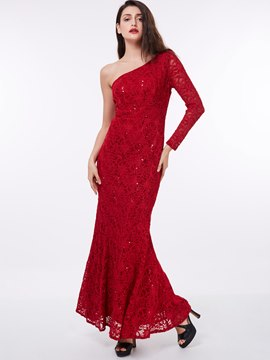 Ericdress One Shoulder Long Sleeve Lace Evening Dress