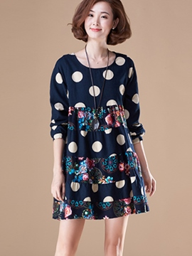 Ericdress Polka Dots Flabala Print Patchwork Casual Dress