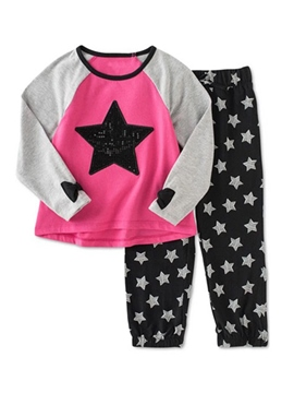 Ericdress Raglan Sleeve T-Shirt Stars Pants Girls Outfit
