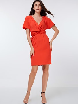 Ericdress Solid Color V-Neck Pleated Bodycon Dress