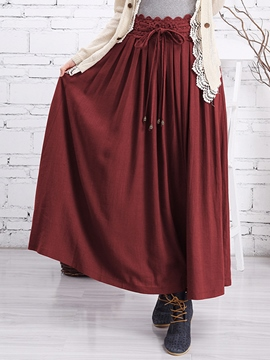 Ericdress Pastoral Pleated Maxi Skirt