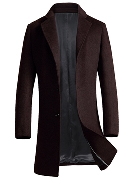 Ericdress Mid-Length Quality Zip Vogue Slim Men's Woolen Coat