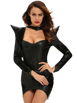 Ericdress Black PU Witch Cosplay Halloween Costume