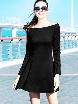 Ericdress Slash Neck Black Pleated Casual Dress