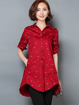 Ericdress Single-Breasted Loose Blouse