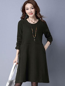 Ericdress Wave Cut Patchwork Pocket Casual Dress