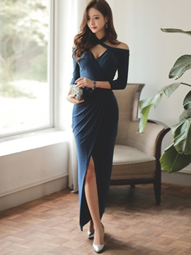 Ericdress Halter V-Neck Split Sheath Dress
