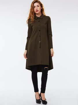 Ericdress Solid Color Turn Down Slim Coat