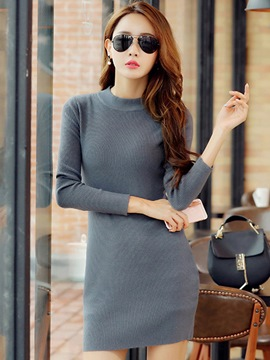 Ericdress Knitting Cowl-Neck Solid Color Bodycon Dress