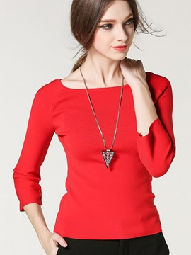 Ericdress Red Three-Quarter Slim Knitwear