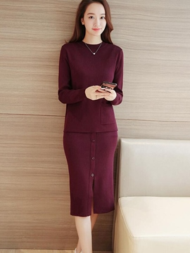 Ericdress Button Decoration Skirt Leisure Suit