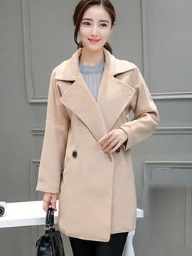 Ericdress Solid Color Double-Breasted Slim Coat