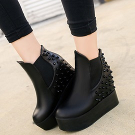 Ericdress Rivets Round Toe Elevator Heel Ankle Boots