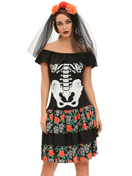Ericdress Off-Shoulder Print Corpse Bride Cosplay Halloween Costume