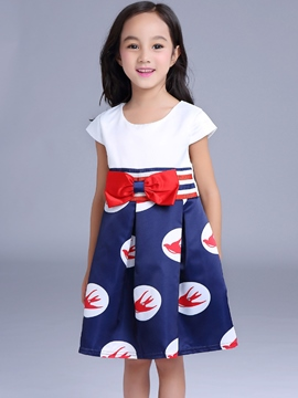 Ericdress Print Bow Sleeveless Girls Dress